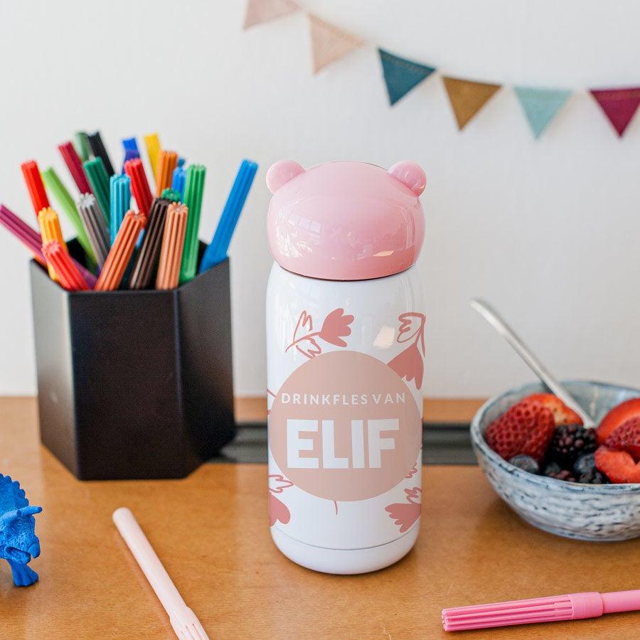 Personalizovaný detský prenosný hrnček - ružový