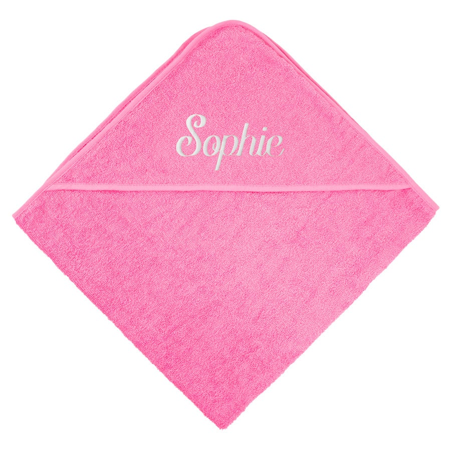 Kapucnis baba törölköző - rózsaszín