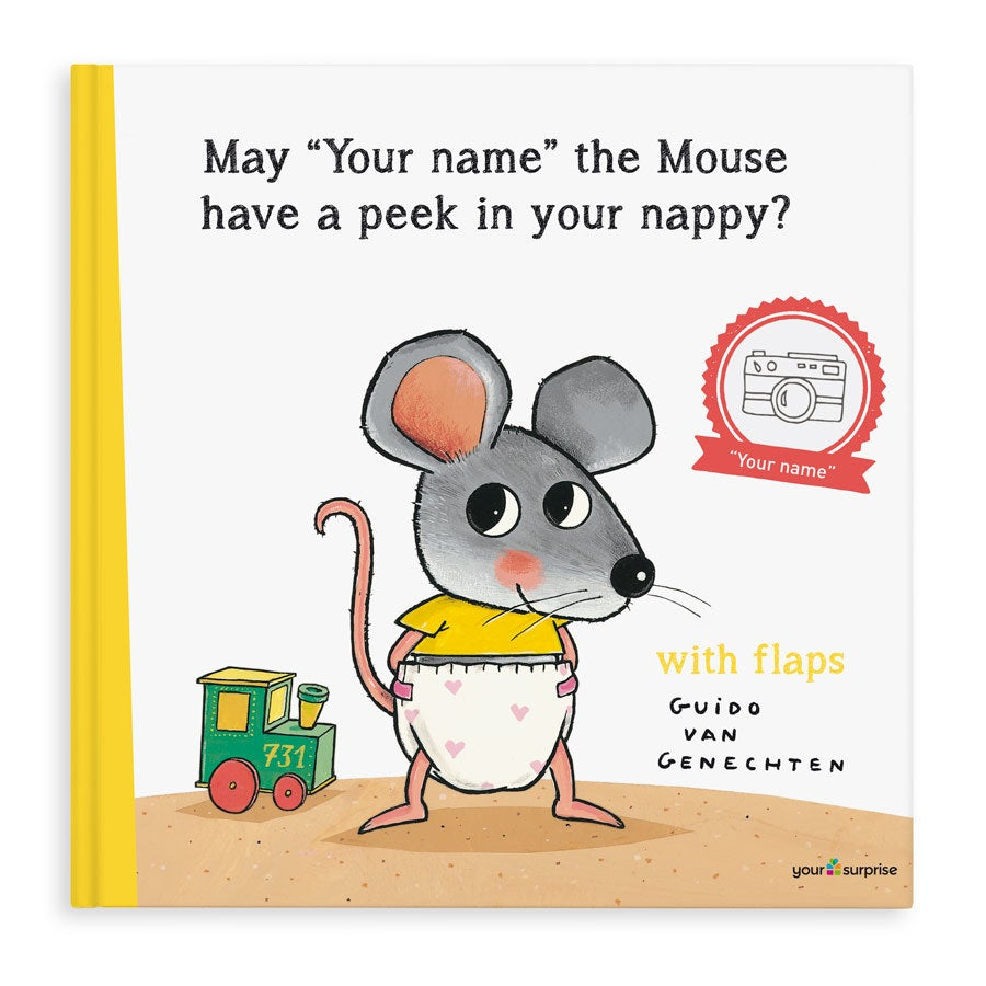 Book with name - May I have a peek in your nappy? - XXL lift the flap book