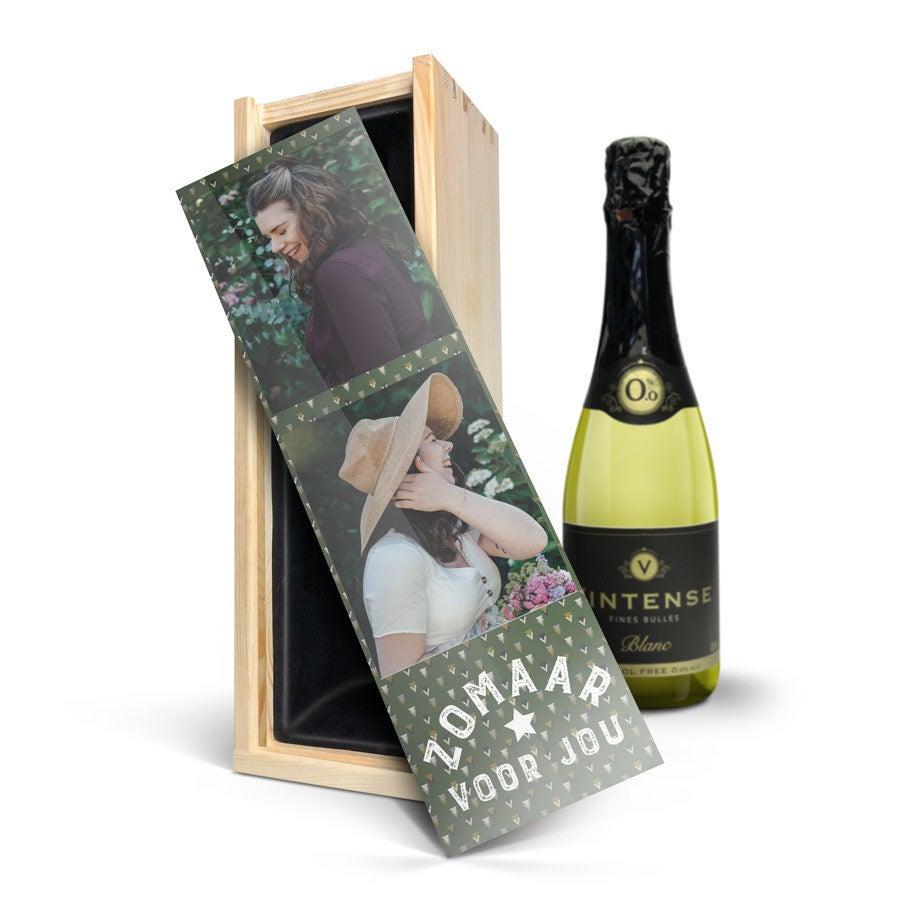 Wijn in bedrukte kist - Vintense Blanc alcoholvrij