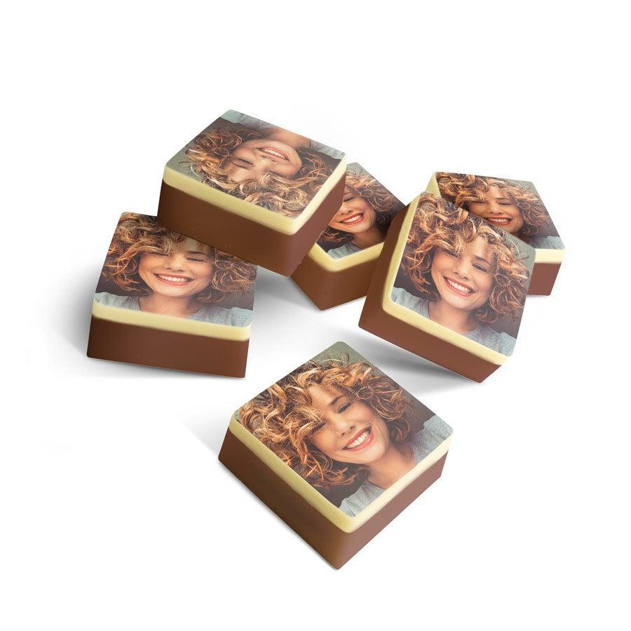 Pralinen mit Foto - Quadrat - 15 Stück - massiv
