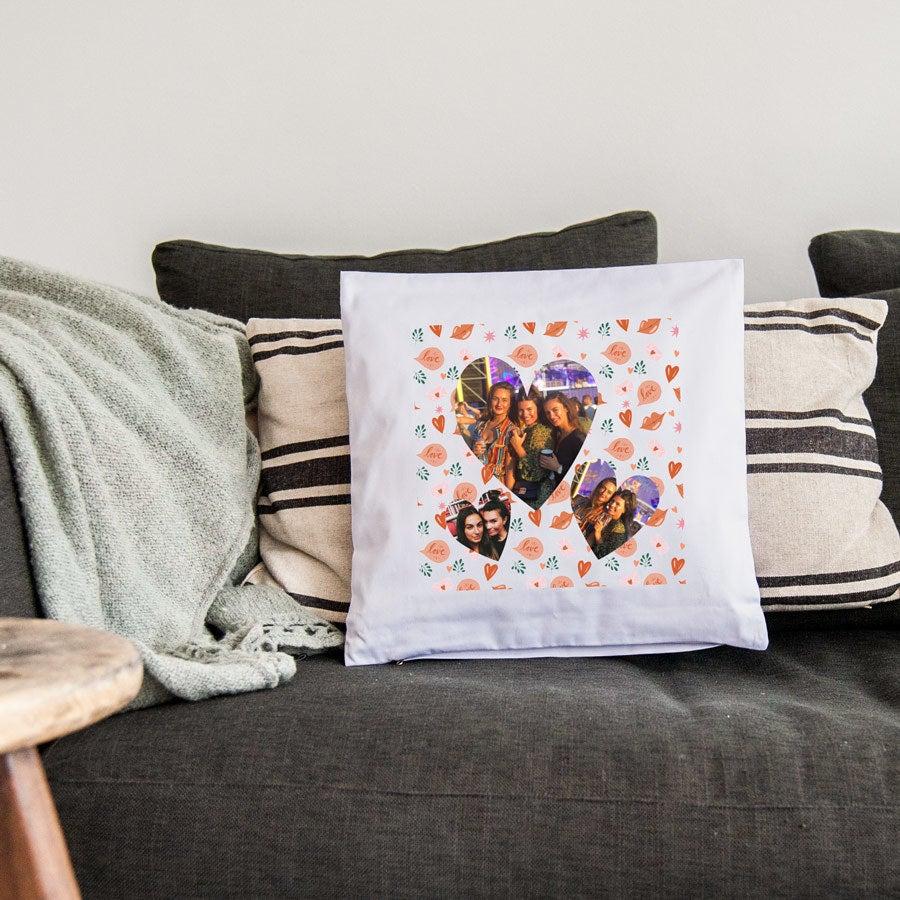Kärlekskudde - 40x40cm - Vit- Fylld