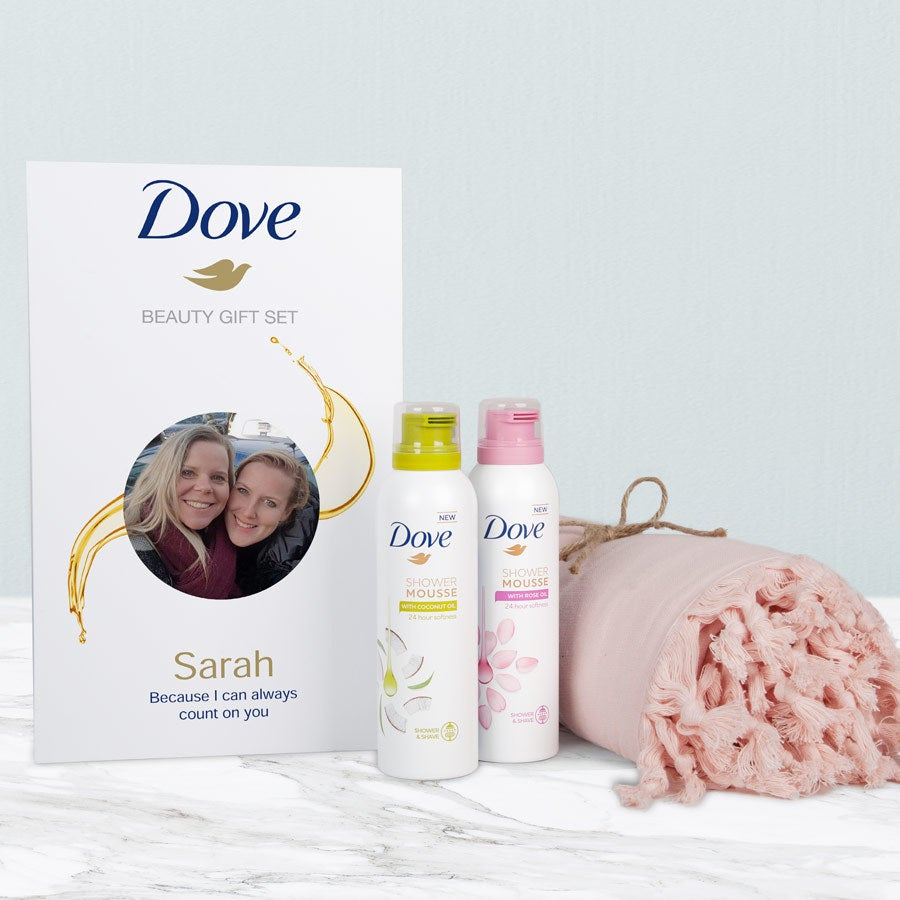 Dove - Personalised shower mousse & hammam towel gift set