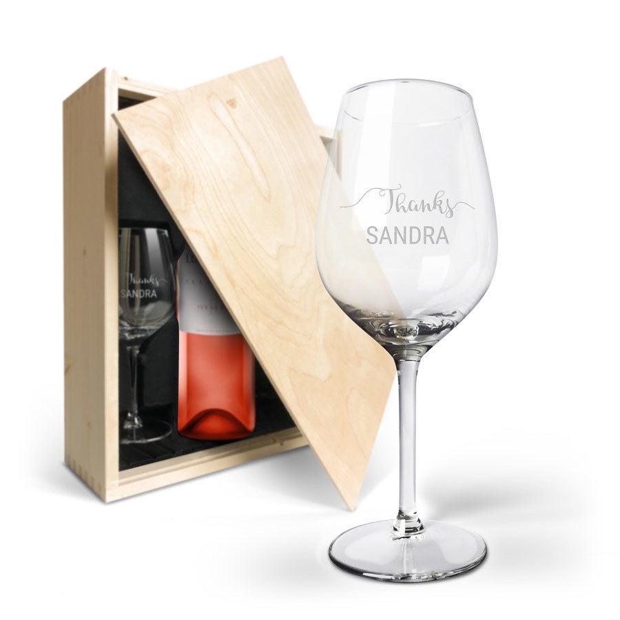 Wijnpakket met wijnglazen - Luc Pirlet Syrah - Gegraveerde glazen