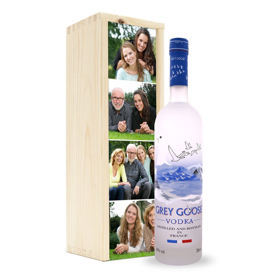 Vodka in bedrukte kist - Grey Goose