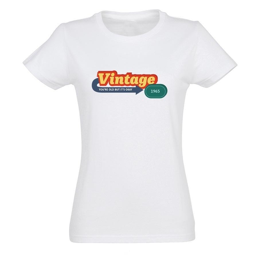 T-paita omalla painatuksella - Naiset - Valkoinen - XL