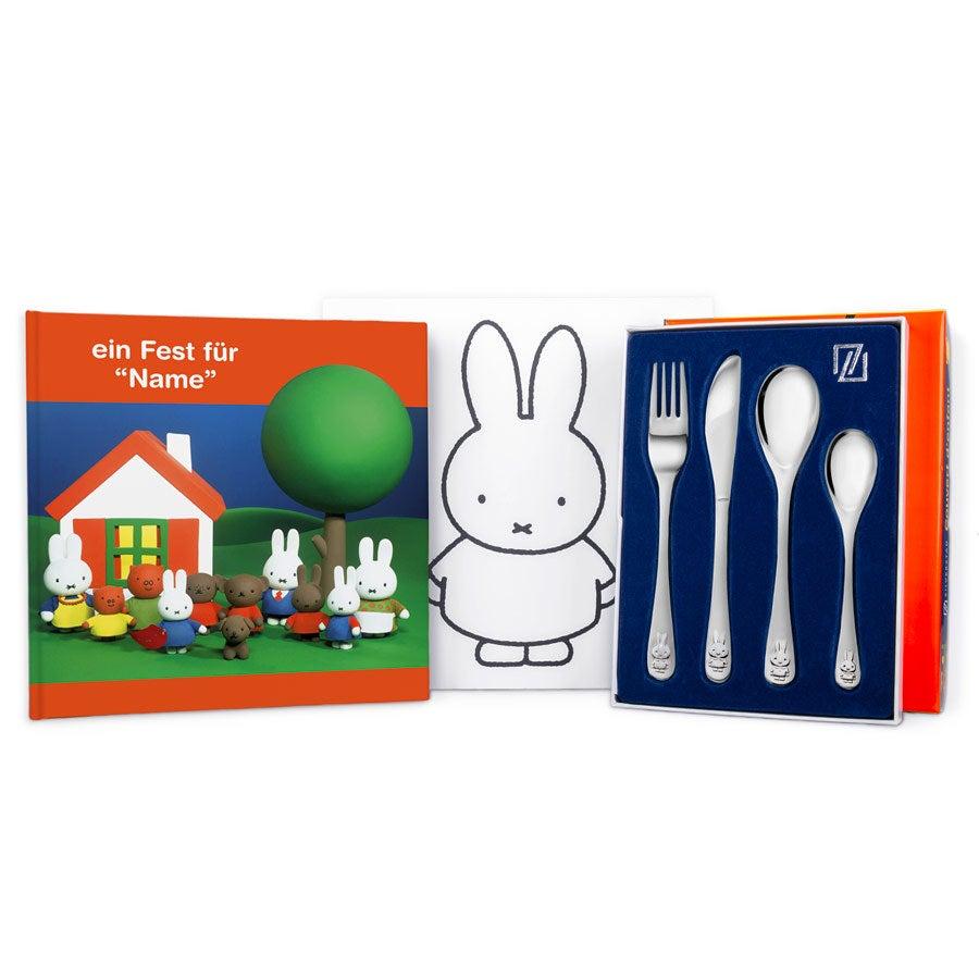 Miffy Geschenkset-Kinderbesteck und Buch mit Namen