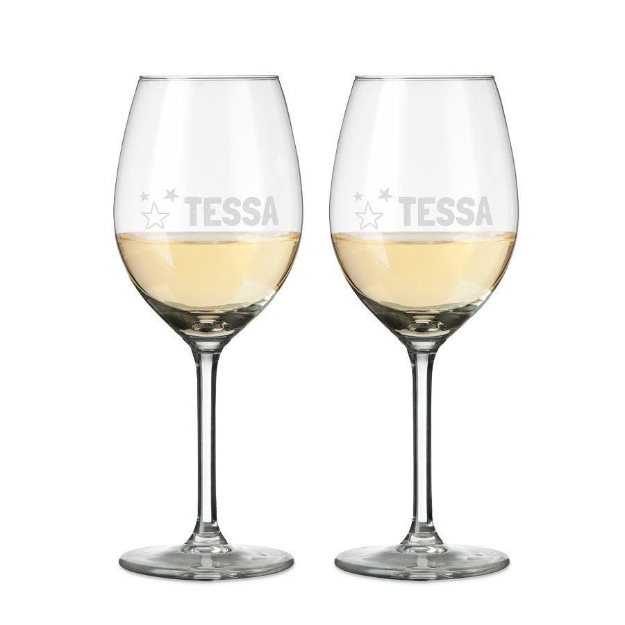Wit wijnglas graveren - 2 stuks