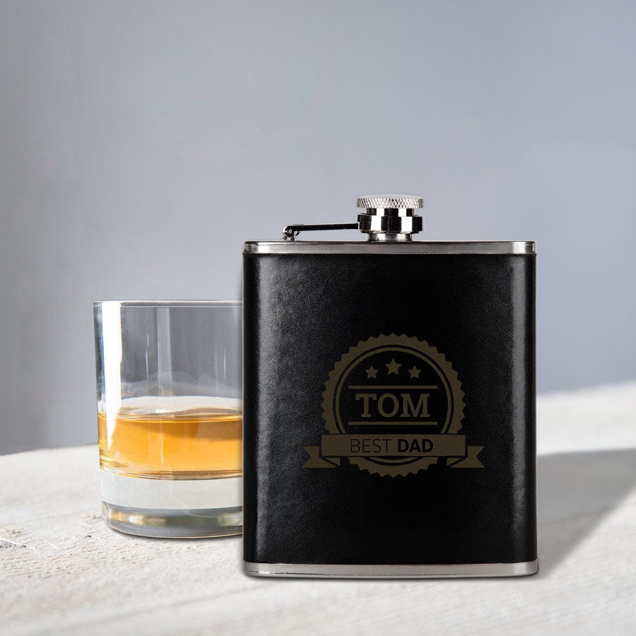 Personalised engraved hip flask - leather look