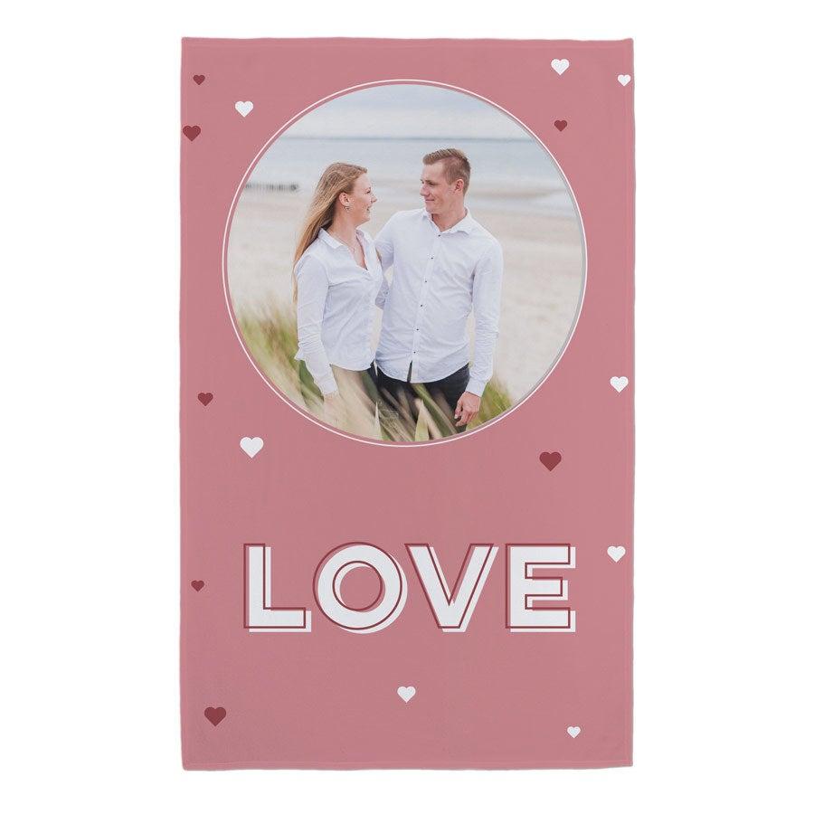 Romantická deka s fotografiou a textom