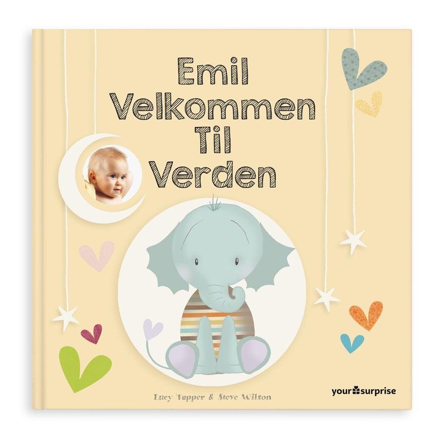 Babybok med navn - Velkommen til verden - Stiv perm