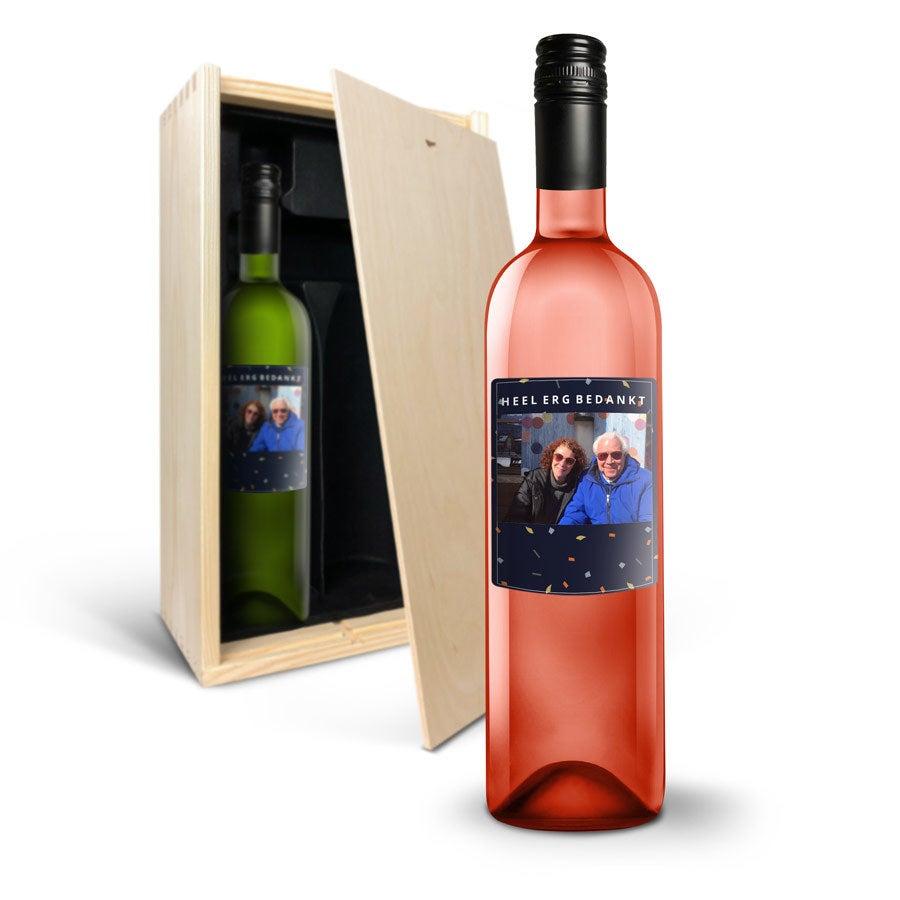 Wijnpakket met bedrukt etiket - Syrah en Sauvignon Blanc