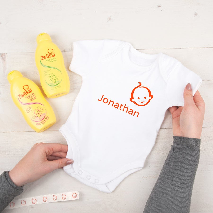 Personalised Zwitsal baby gift set - Romper (size Eur 62/68)