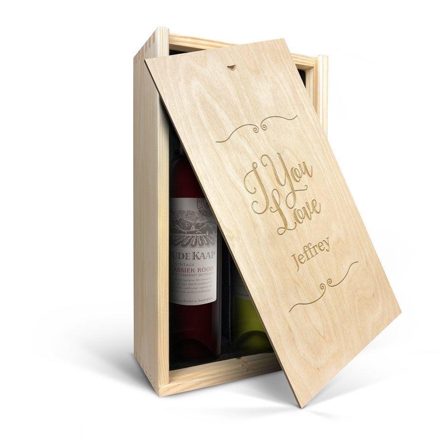 Wijnpakket in gegraveerde kist - Oude Kaap - Wit en rood