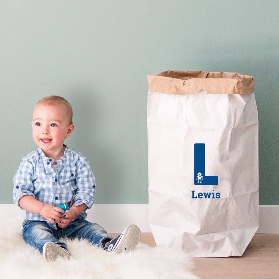 Opbevaringspose til legetøj, lavet i papir - 50 x 78 x 13 cm