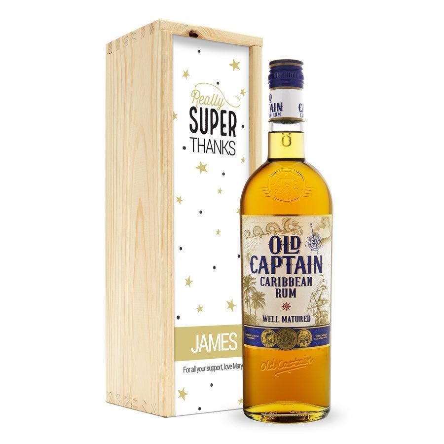 Rum v potištěné krabici - Old Captain (hnědý)