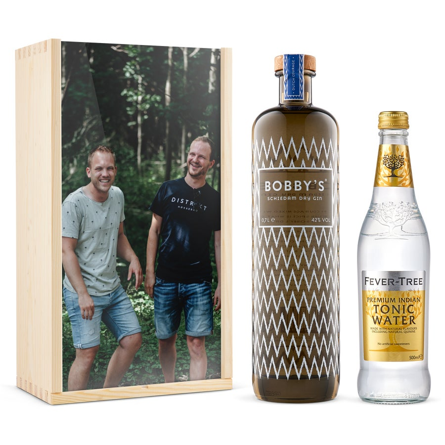 Coffret personnalisé Gin-Tonic - Bobby's Gin - Couvercle imprimé