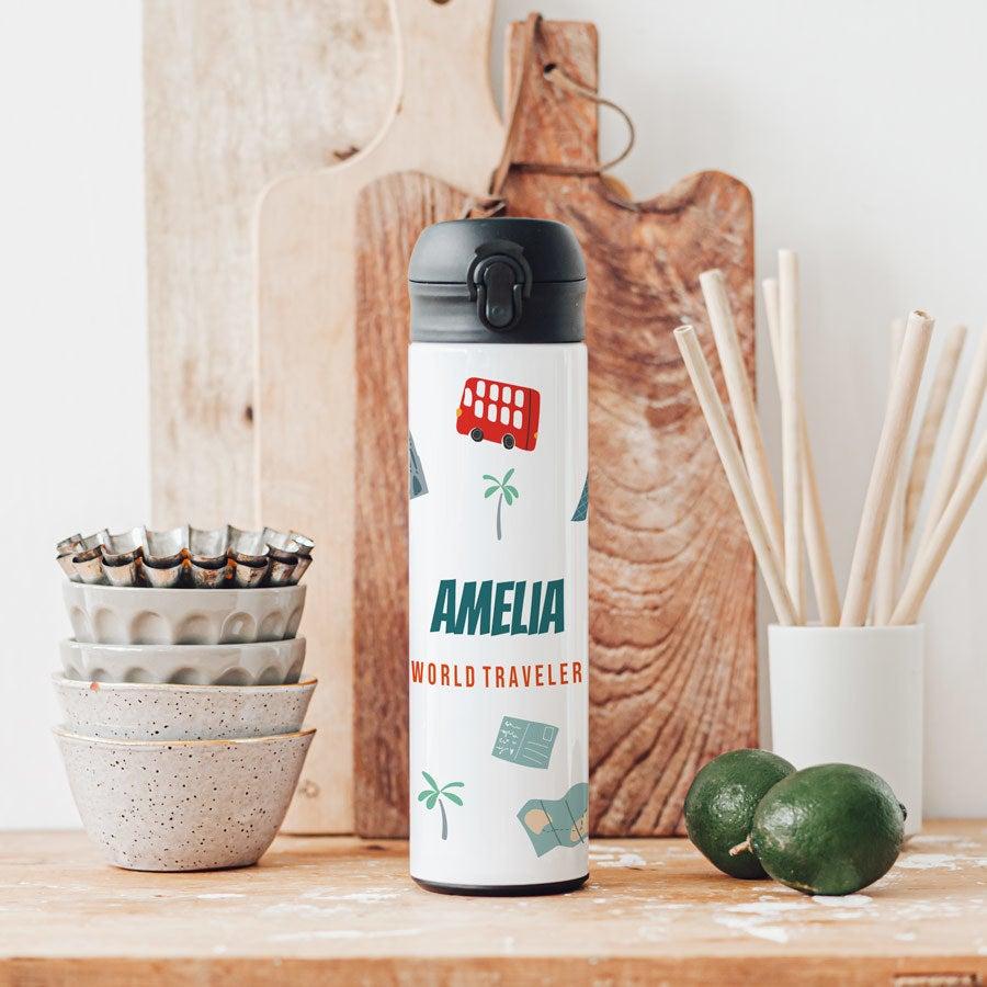 Luksuriøs vannflaske med 'pop top'-kork - Hvit