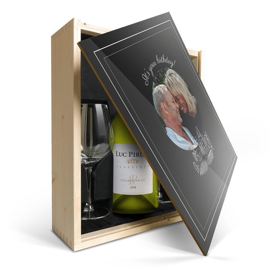 Darčeková sada na víno so sklom - Luc Pirlet Chardonnay - Potlačené veko
