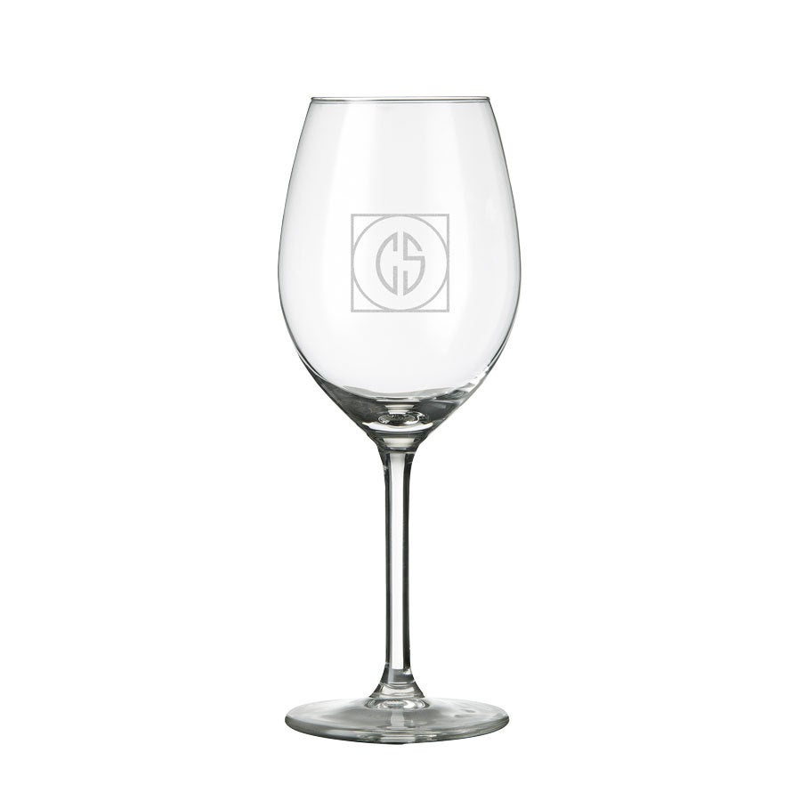 White wine glass with monogram