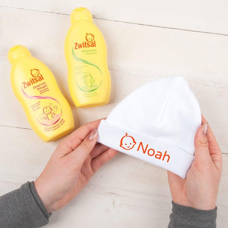 Jogo personalizado do presente do bebê de Zwitsal - chapéu