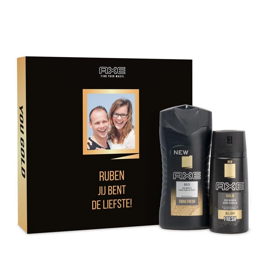 Gepersonaliseerde Axe geschenkset - Bodywash & deodorant - Gold
