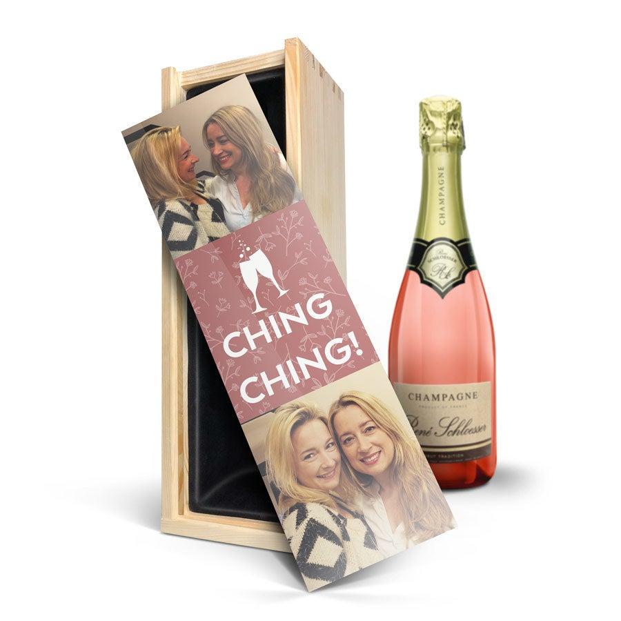 Champagne i indgraveret kasse - René Schloesser rosé (750ml)