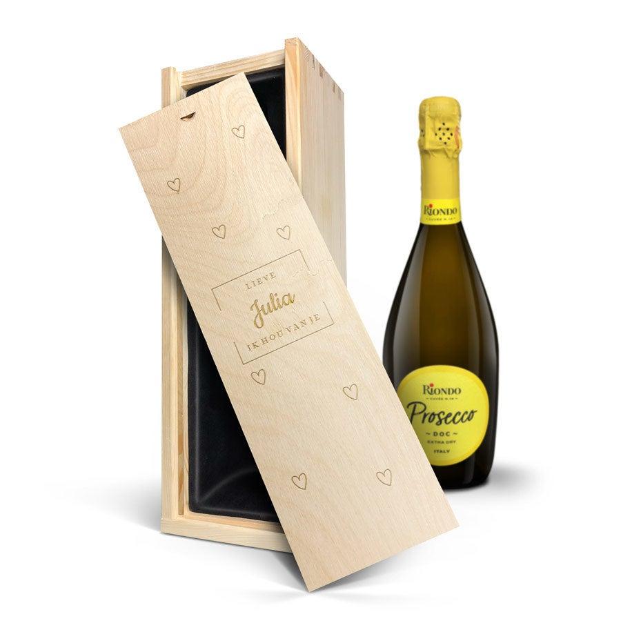 Wijn in gegraveerde kist - Riondo Prosecco Spumante