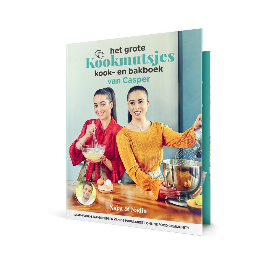 Bedrukte omslag met naam voor Kookmutsjes Kook- en bakboek