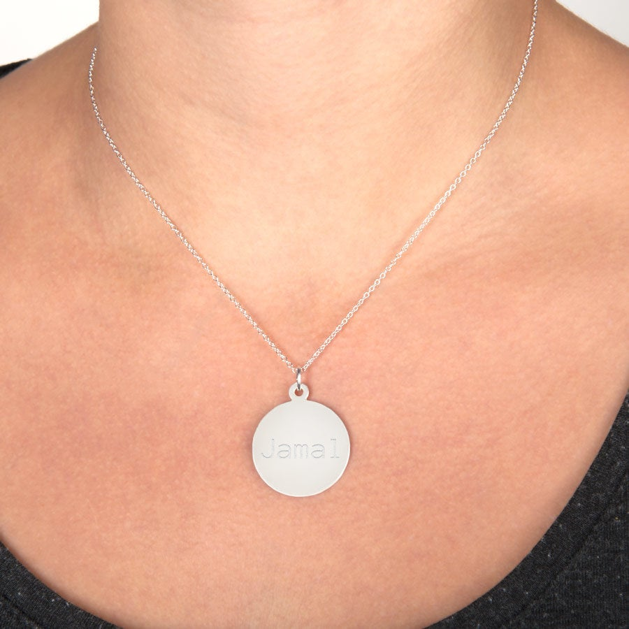 Engraved silver pendant - Classic round