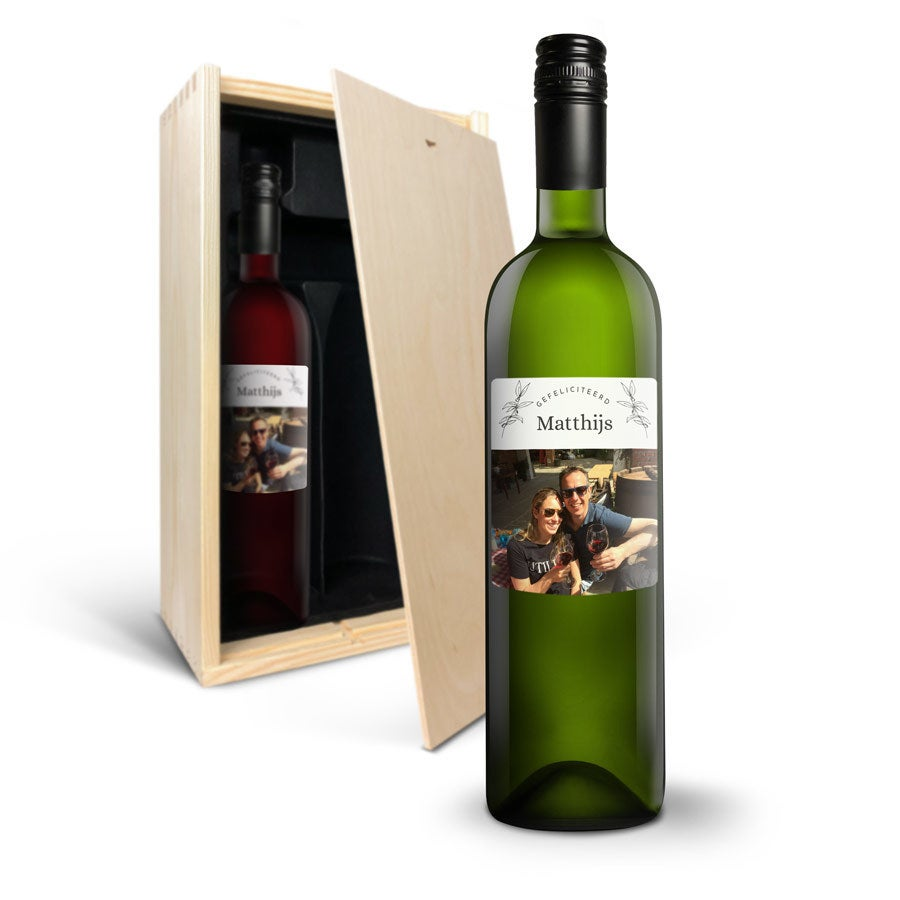 Wijnpakket met bedrukt etiket - Luc Pirlet - Merlot en Sauvignon Blanc