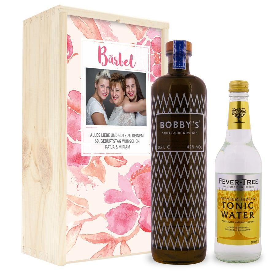 Gin Tonic Set - Bobby´s Gin - in luxuriöser Holzkiste
