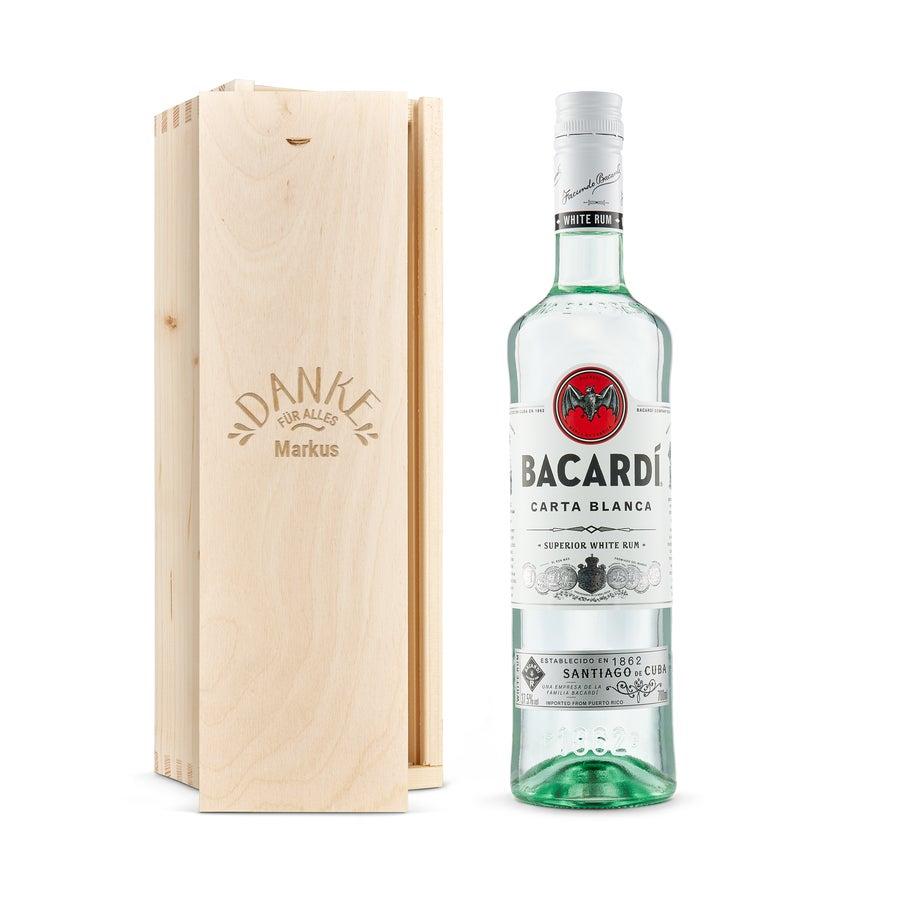 Bacardi weiß - in Holzkiste mit Gravur
