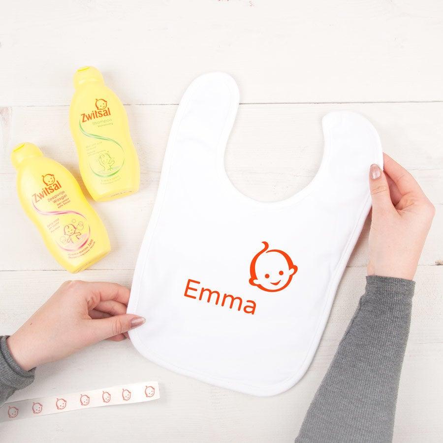 Jogo personalizado do presente do bebê de Zwitsal - babador