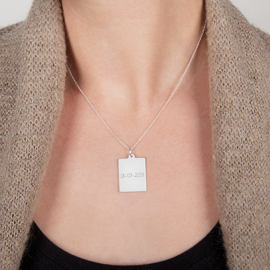Engraved silver pendant - Classic rectangle