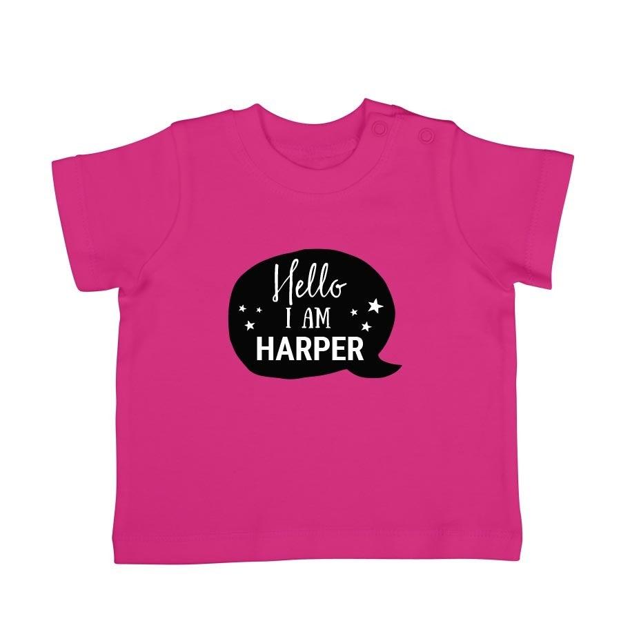 Babyskjorta med tryck - kort ärm - Fuchsia - 50/56