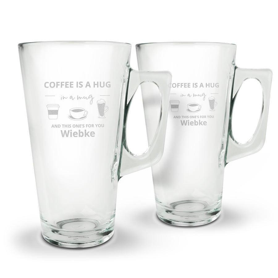 Individuellküchenzubehör - Latte Macchiato Glas mit Gravur Set von 2 - Onlineshop YourSurprise