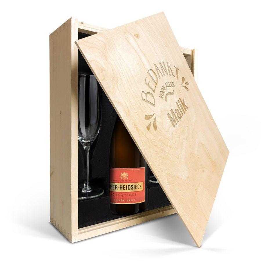 Champagnepakket met glazen - Piper Heidsieck Brut (750ml) - Gegraveerde deksel