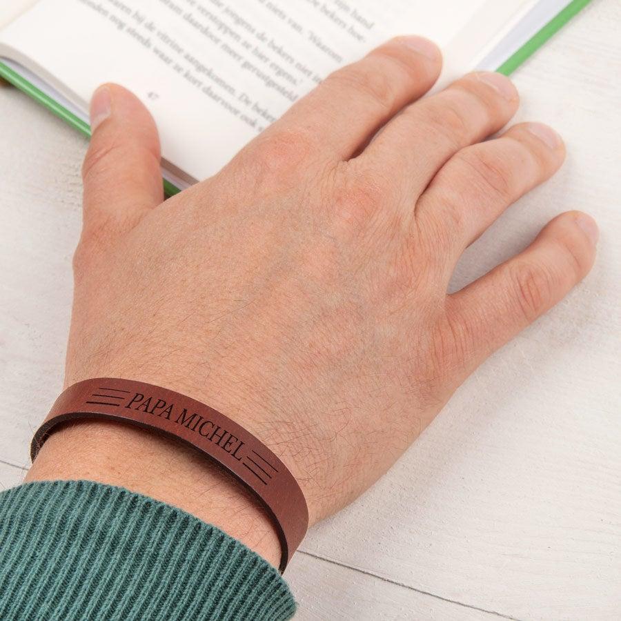 Leren armband - Vaderdag - Bruin