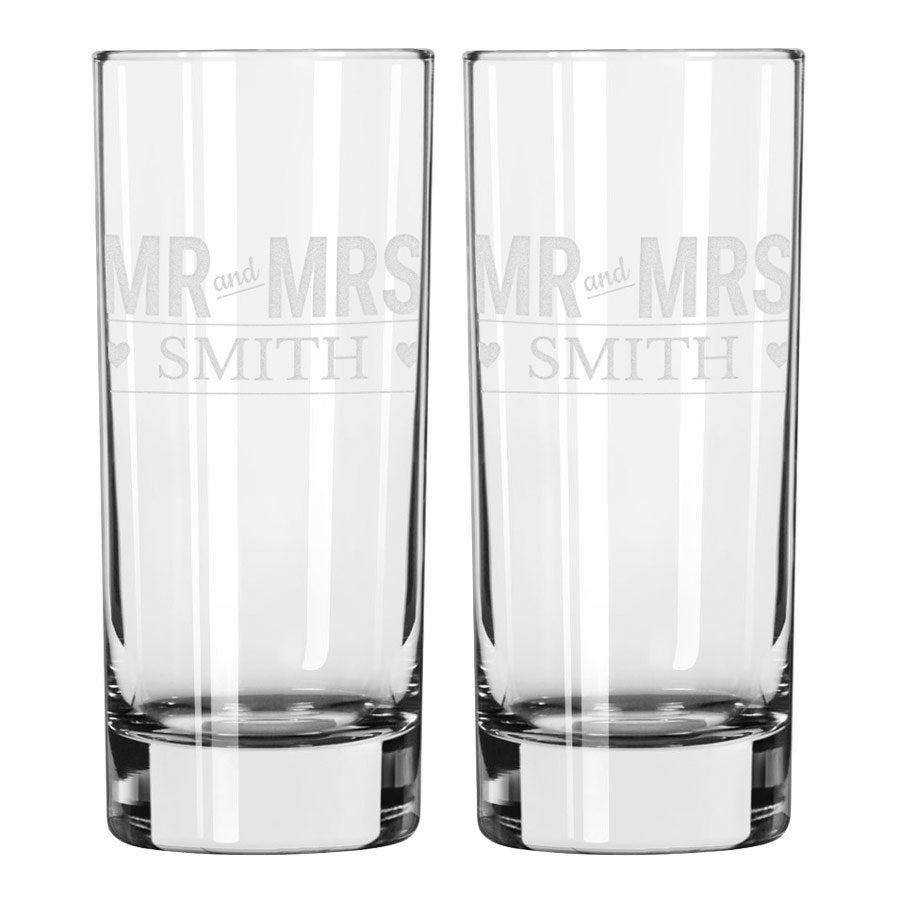 Longdrinkglass med gravering - 2 stykk