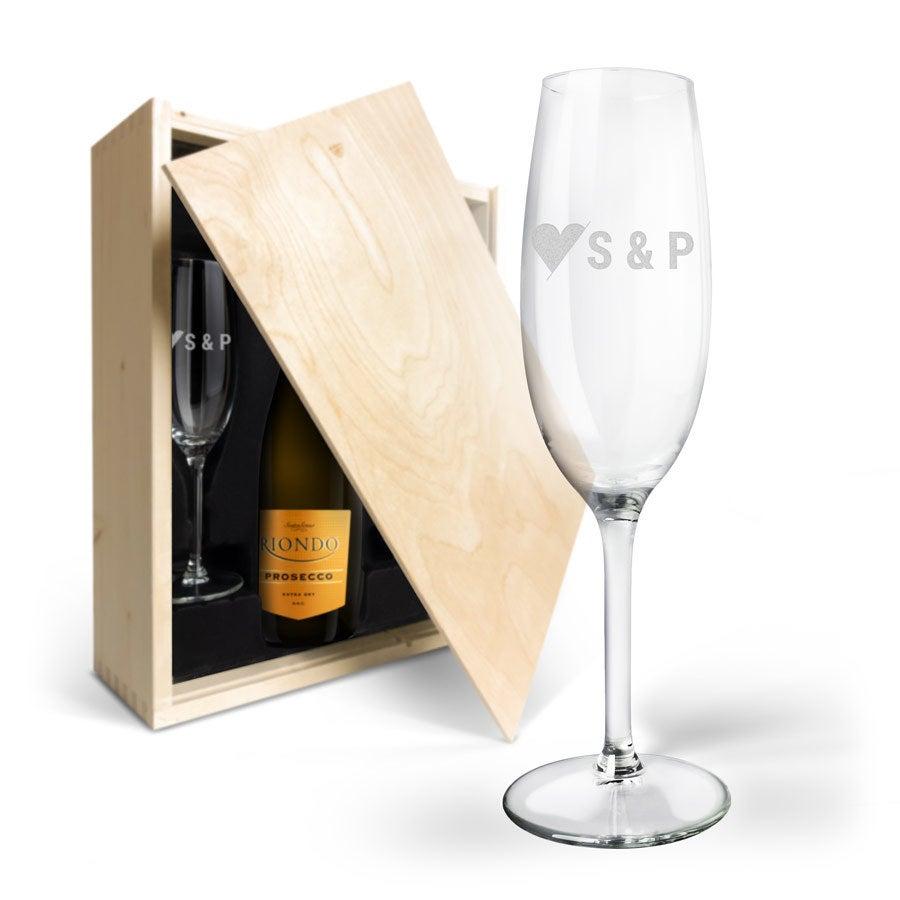 Weinpaket mit gravierten Gläsern - Riondo Prosecco Spumante