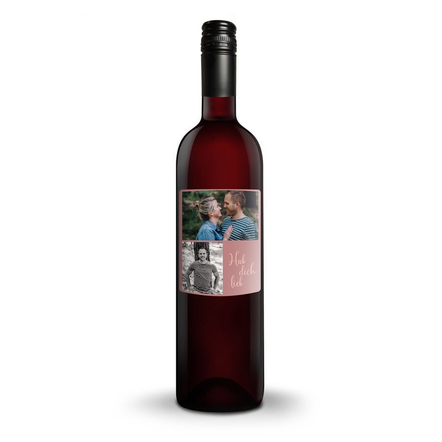 Rotwein Belvy mit personalisiertem Etikett