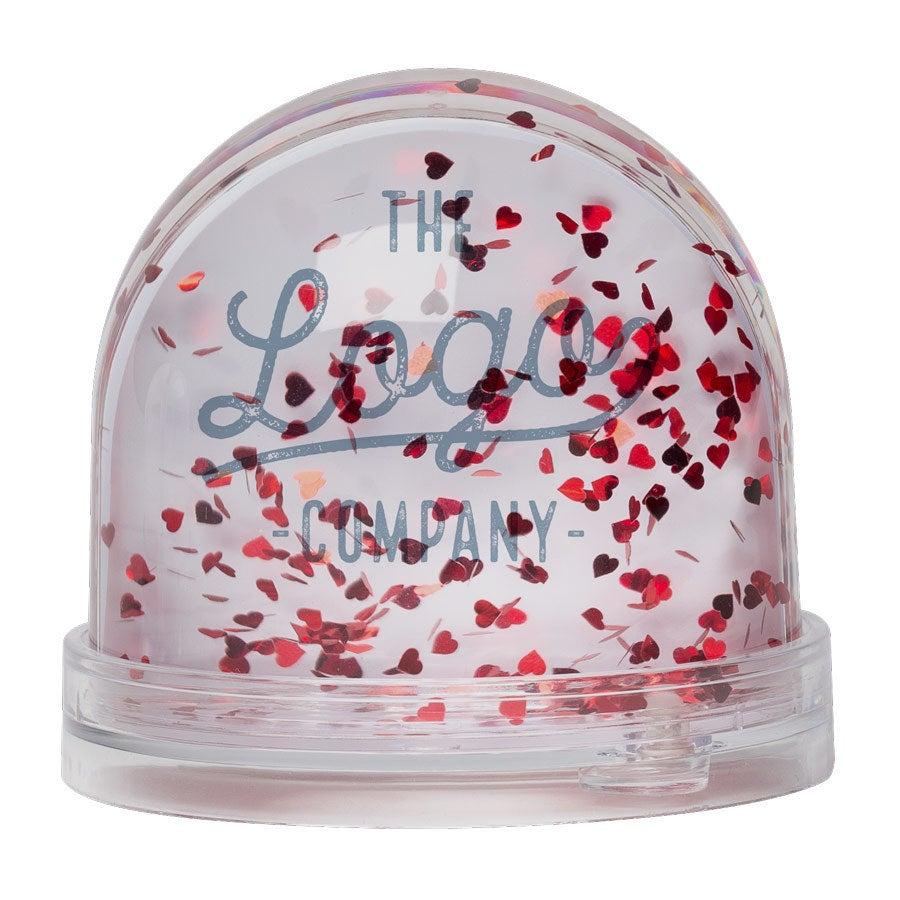 Personalised snow globe - Hearts