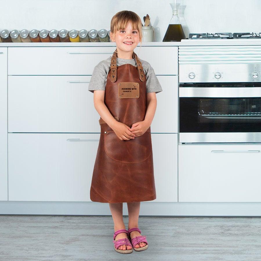 Personligt läderförkläde för barn - brunt