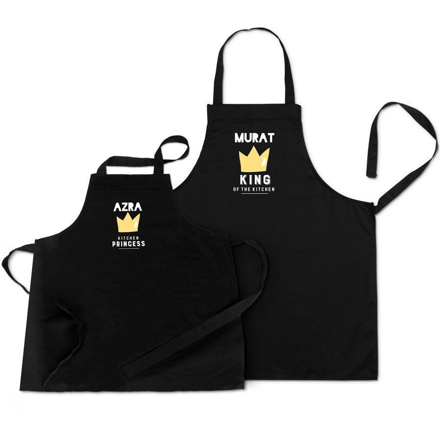 Set keukenschorten - Vader en kind - Zwart