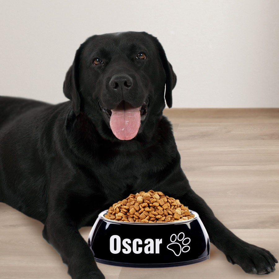 Hondenvoerbak met naam - Zwart - 700 ml