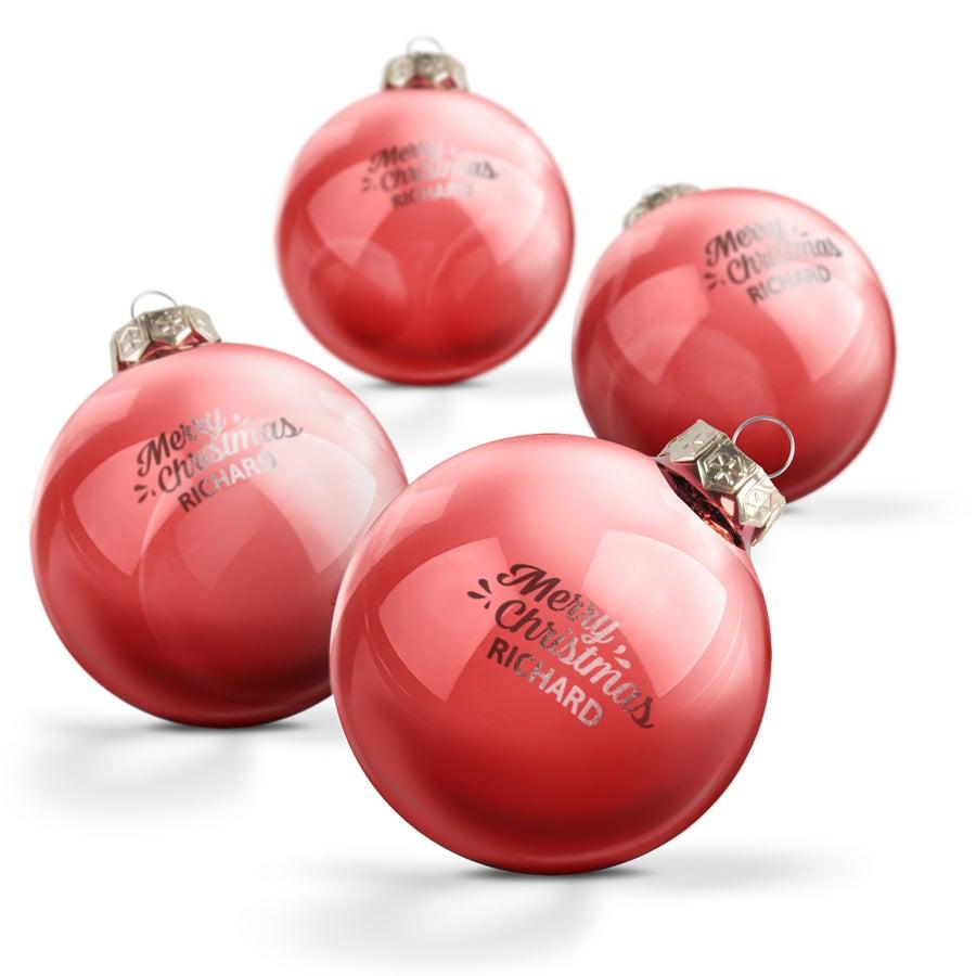 Glazen kerstbal met naam - Rood (4 stuks)