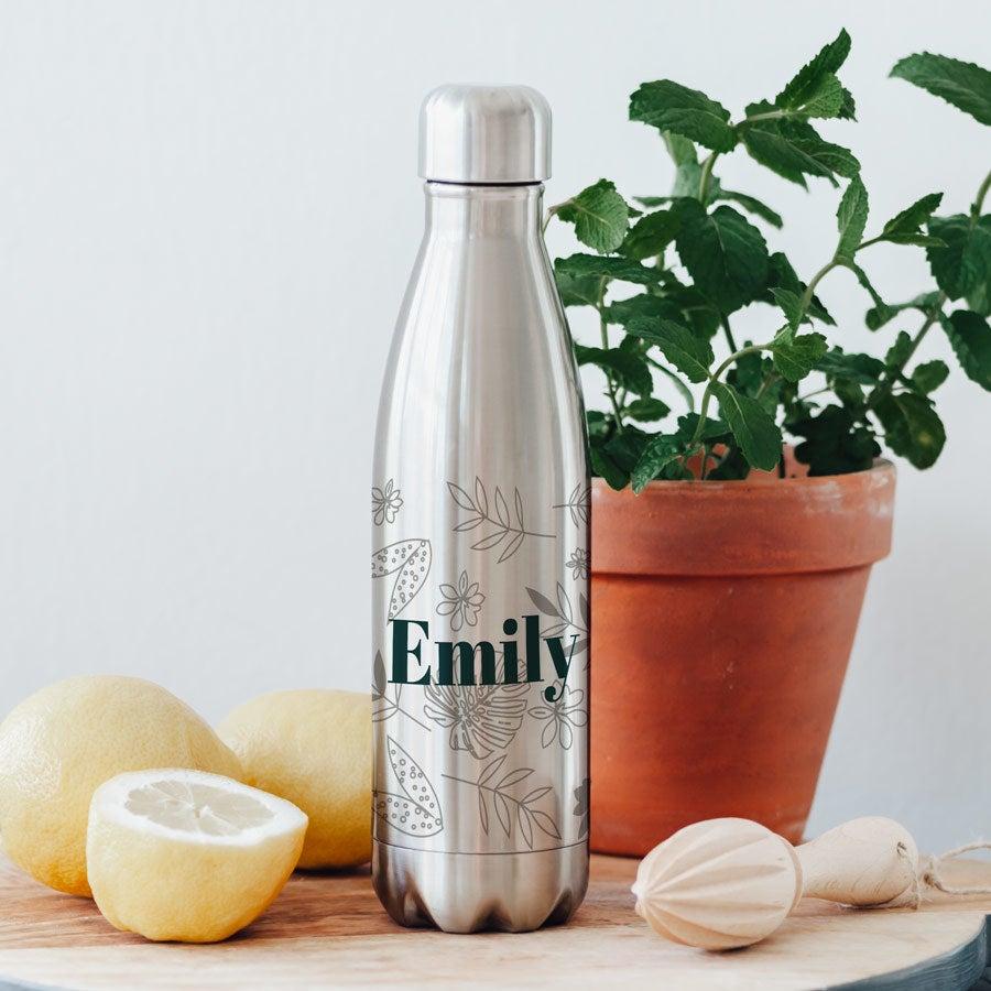 Edelstahl Trinkflasche - Aluminium Look
