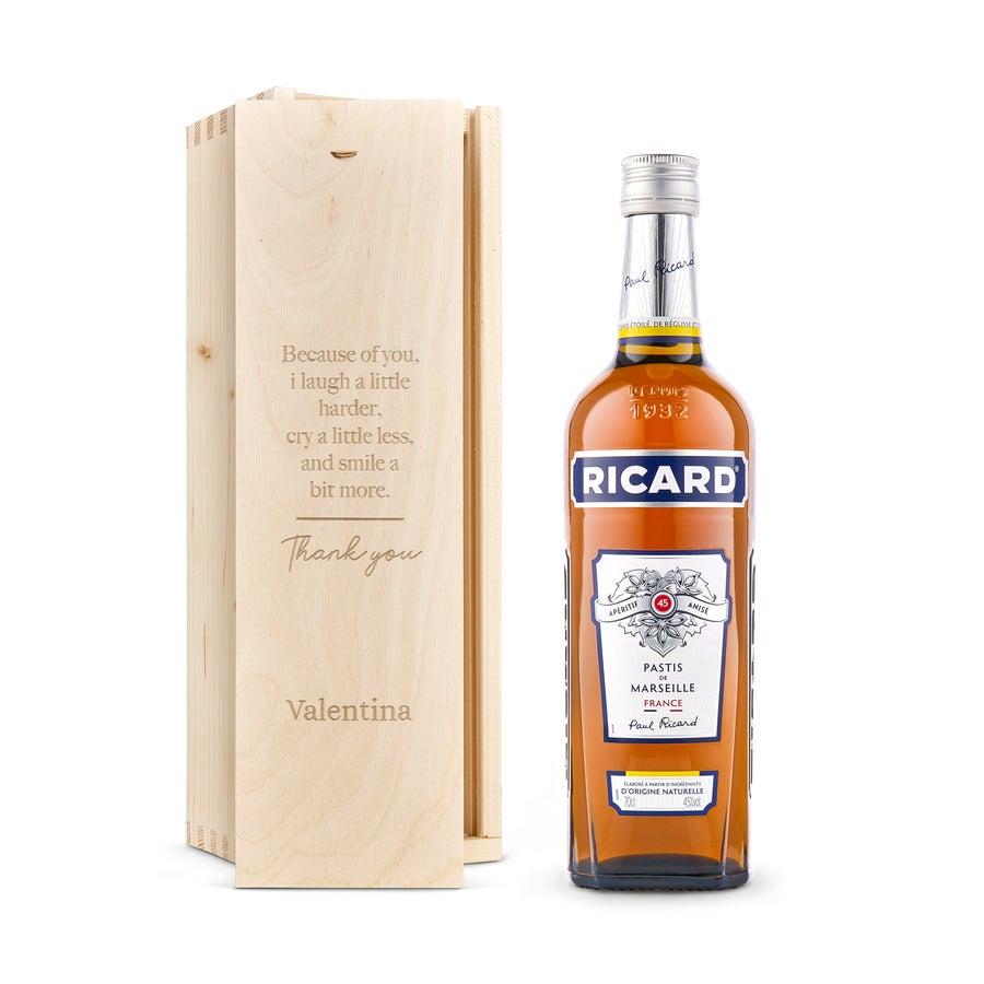 Licor en caja de regalo grabada - Ricard Pastis