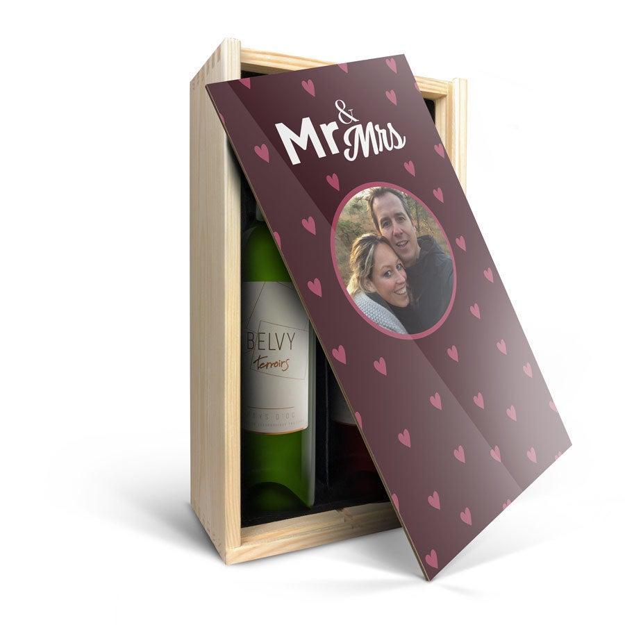 Wijnpakket in bedrukte kist - Belvy - Wit en rood
